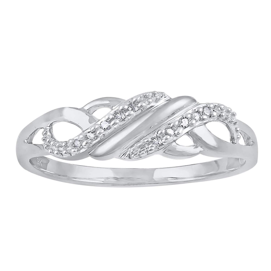 9ct White Gold Diamond Set Stackable Ring Rings Bevilles