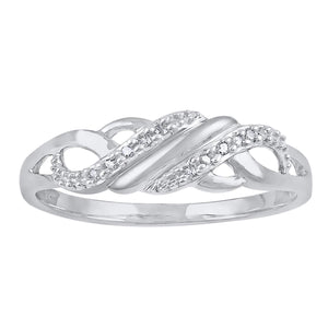 9ct White Gold Diamond Set Stackable Ring