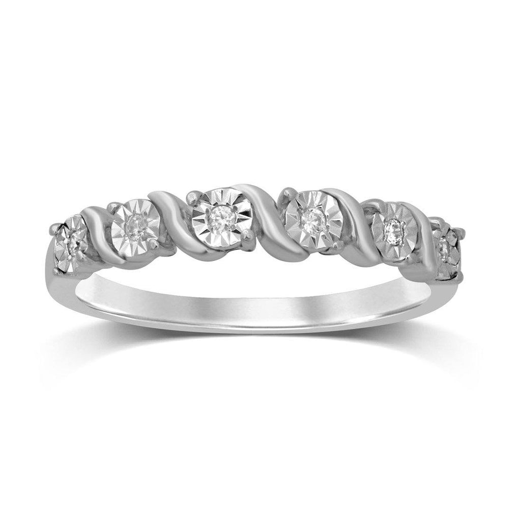 9ct White Gold 0.05ct Diamond Swirl Stackable Ring Rings Bevilles