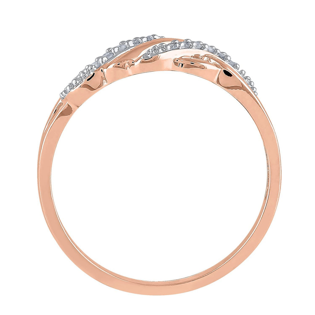 9ct Rose Gold Diamond Set Stackable Ring Rings Bevilles