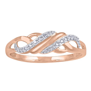9ct Rose Gold Diamond Set Stackable Ring