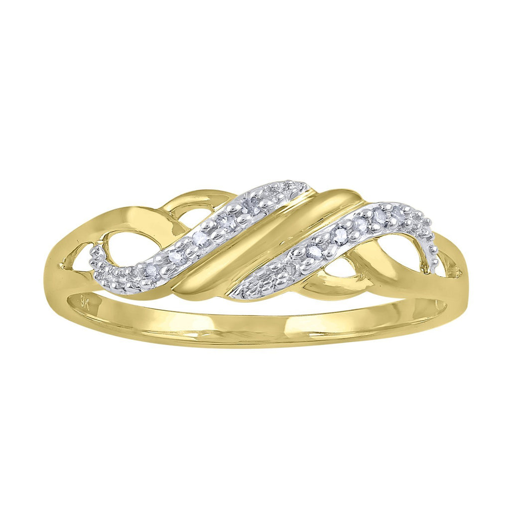 Diamond Set Sweep Weave Stackable Ring in 9ct Yellow Gold Rings Bevilles