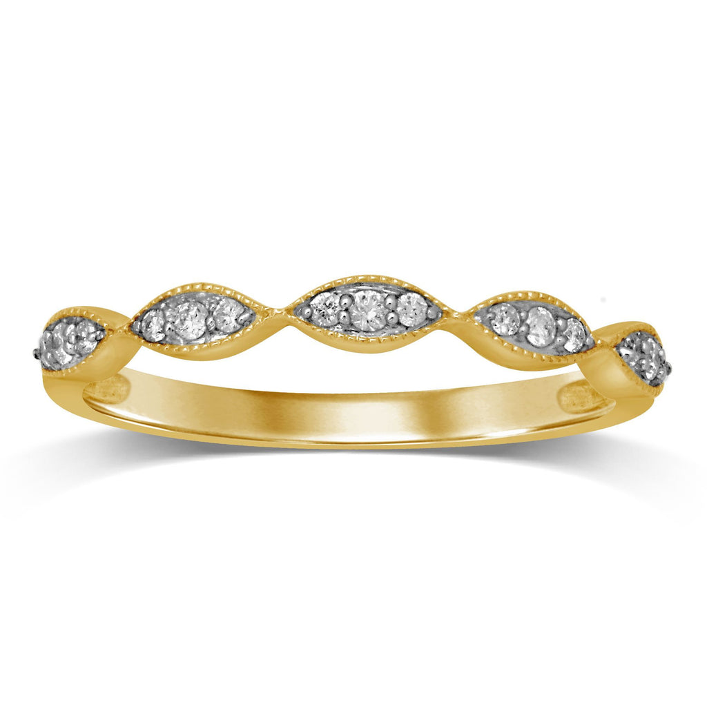 Milgrain Diamond Stackable Ring in 9ct Yellow Gold Rings Bevilles