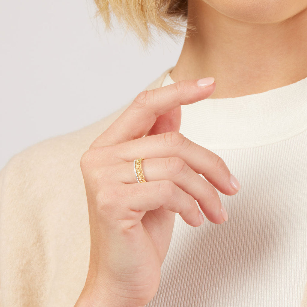 Diamond Set Fancy Swirl Stackable Ring in 9ct Yellow Gold Rings Bevilles