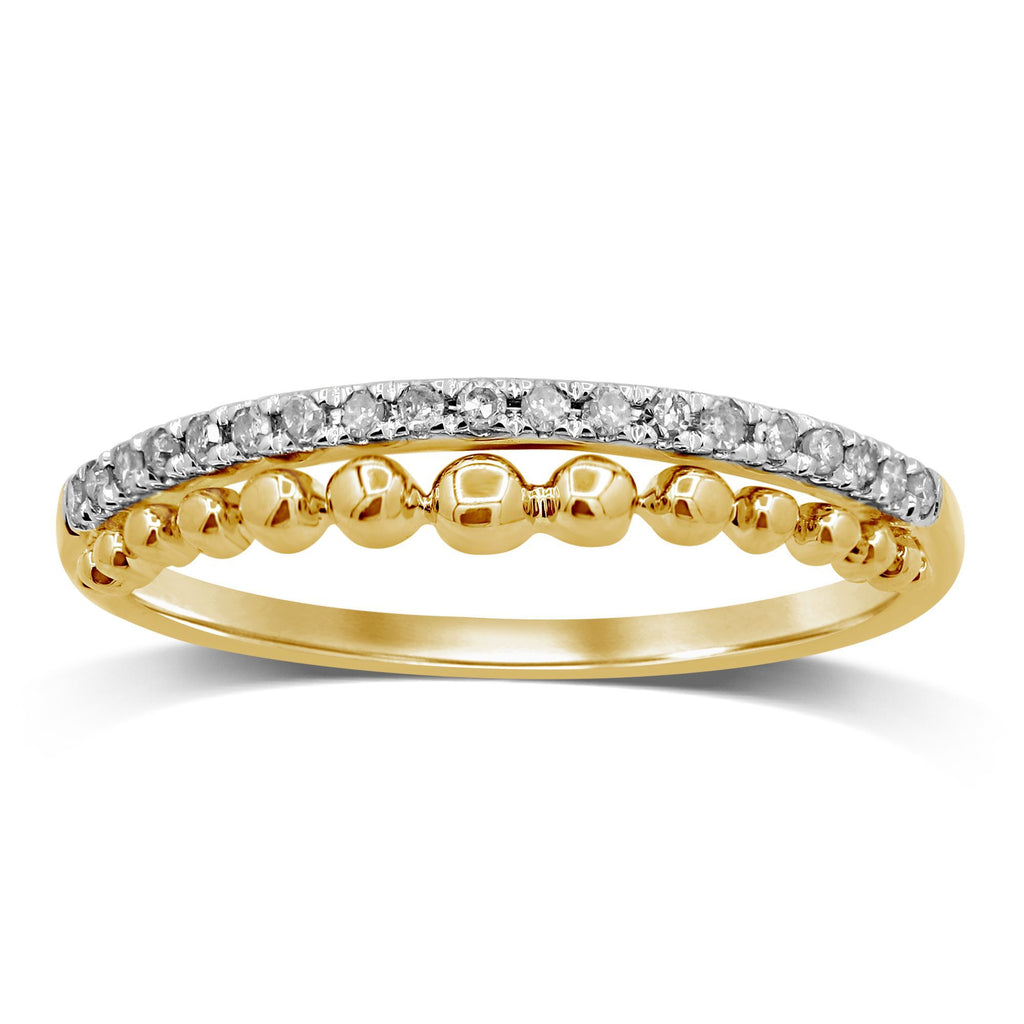 Diamond Double Row Stackable Ring in 9ct Yellow Gold Rings Bevilles
