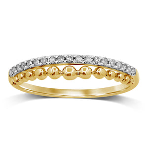 Diamond Double Row Stackable Ring in 9ct Yellow Gold
