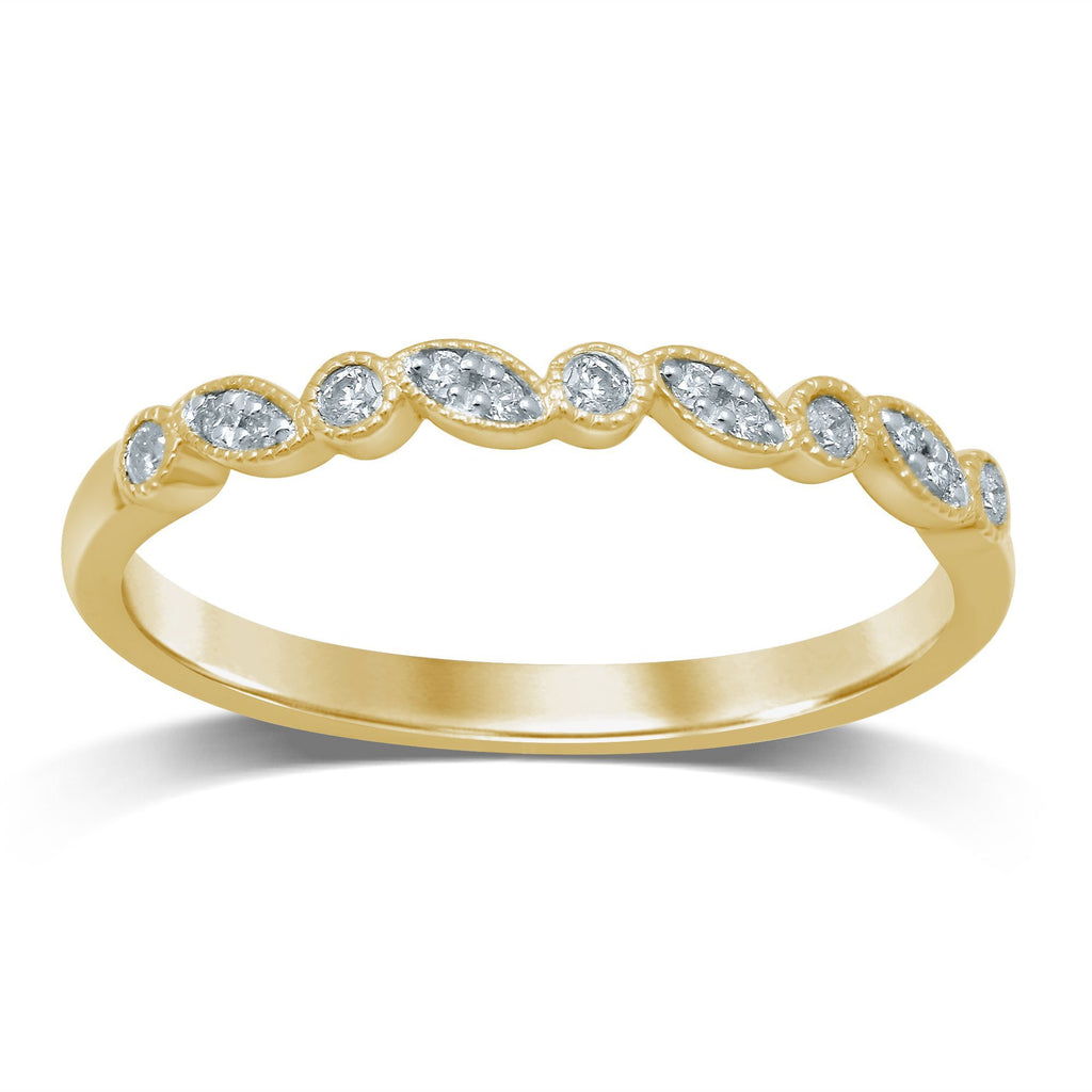 Stackable Leaf Bezel Diamond Ring in 9ct Yellow Gold Rings Bevilles
