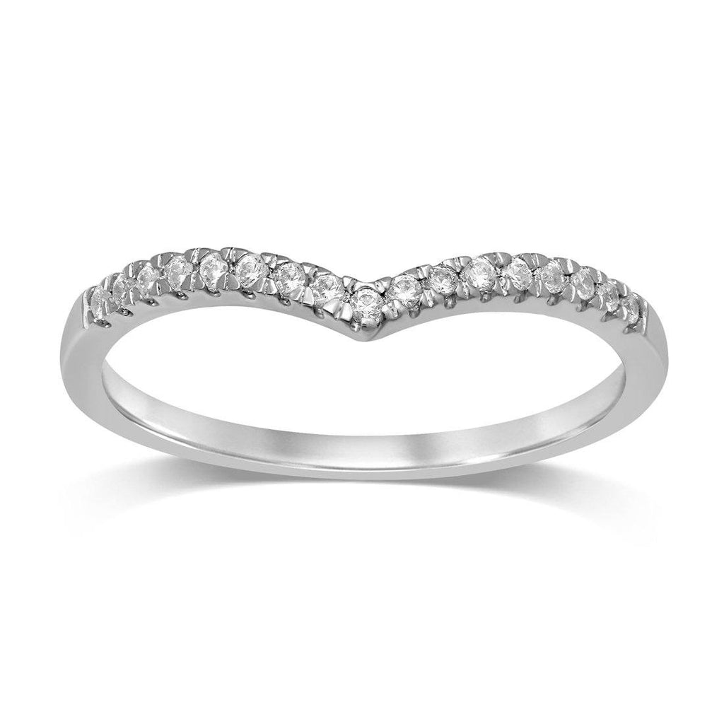 9ct White Gold 0.10ct Diamond V Shape Stackable Ring
