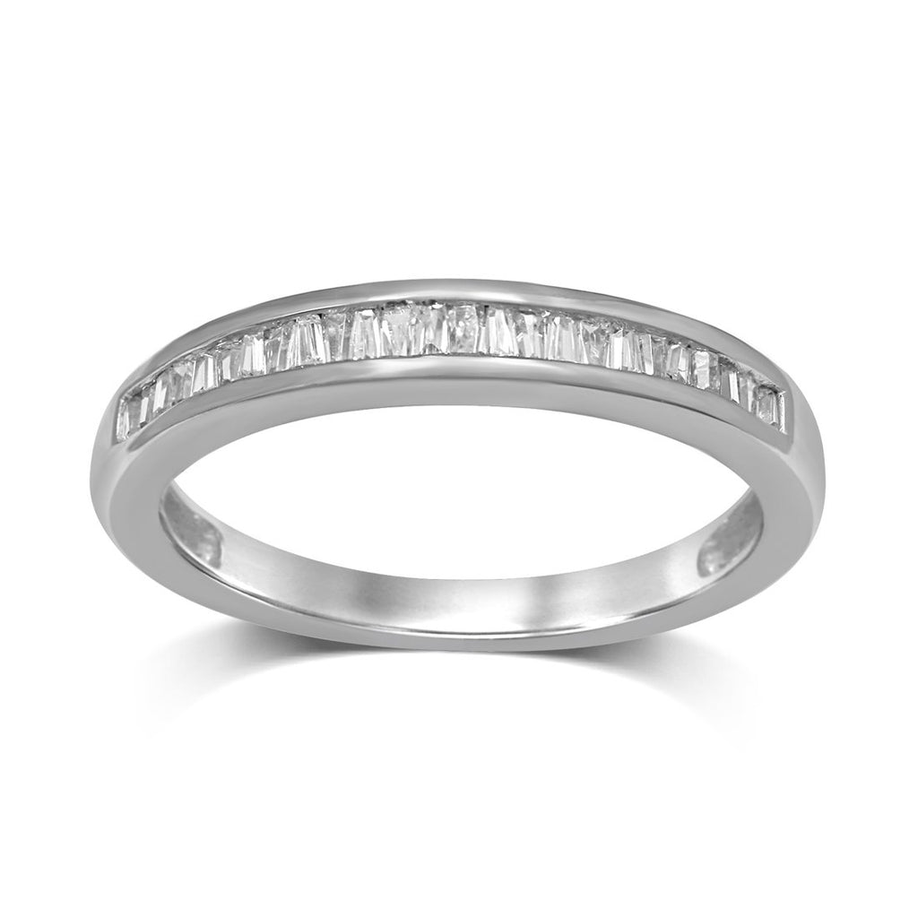 9ct White Gold 0.15ct Diamond Stackable Ring Rings Bevilles