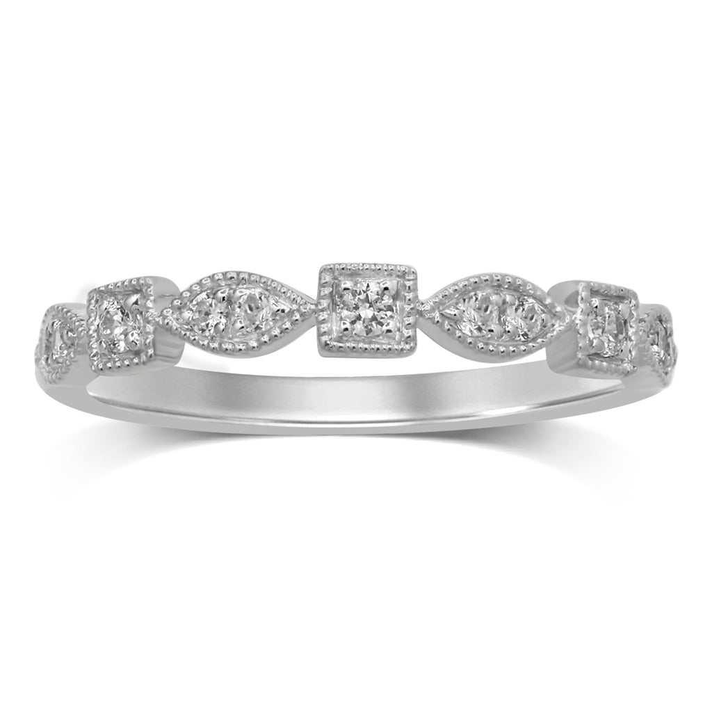 Stackable Ring with 0.15ct of Diamonds in 9ct White Gold Rings Bevilles