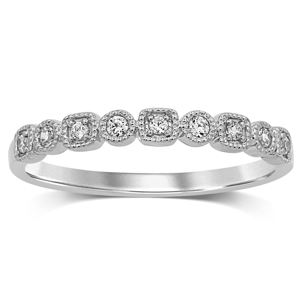 Stackable Ring with 0.10ct of Diamonds in 9ct White Gold Rings Bevilles