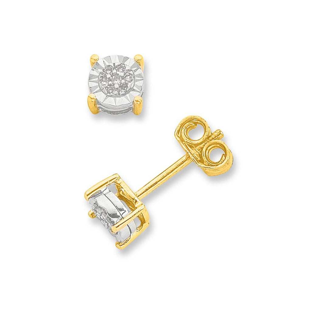 Diamond Stud Earrings in 9ct Yellow Gold Earrings Bevilles