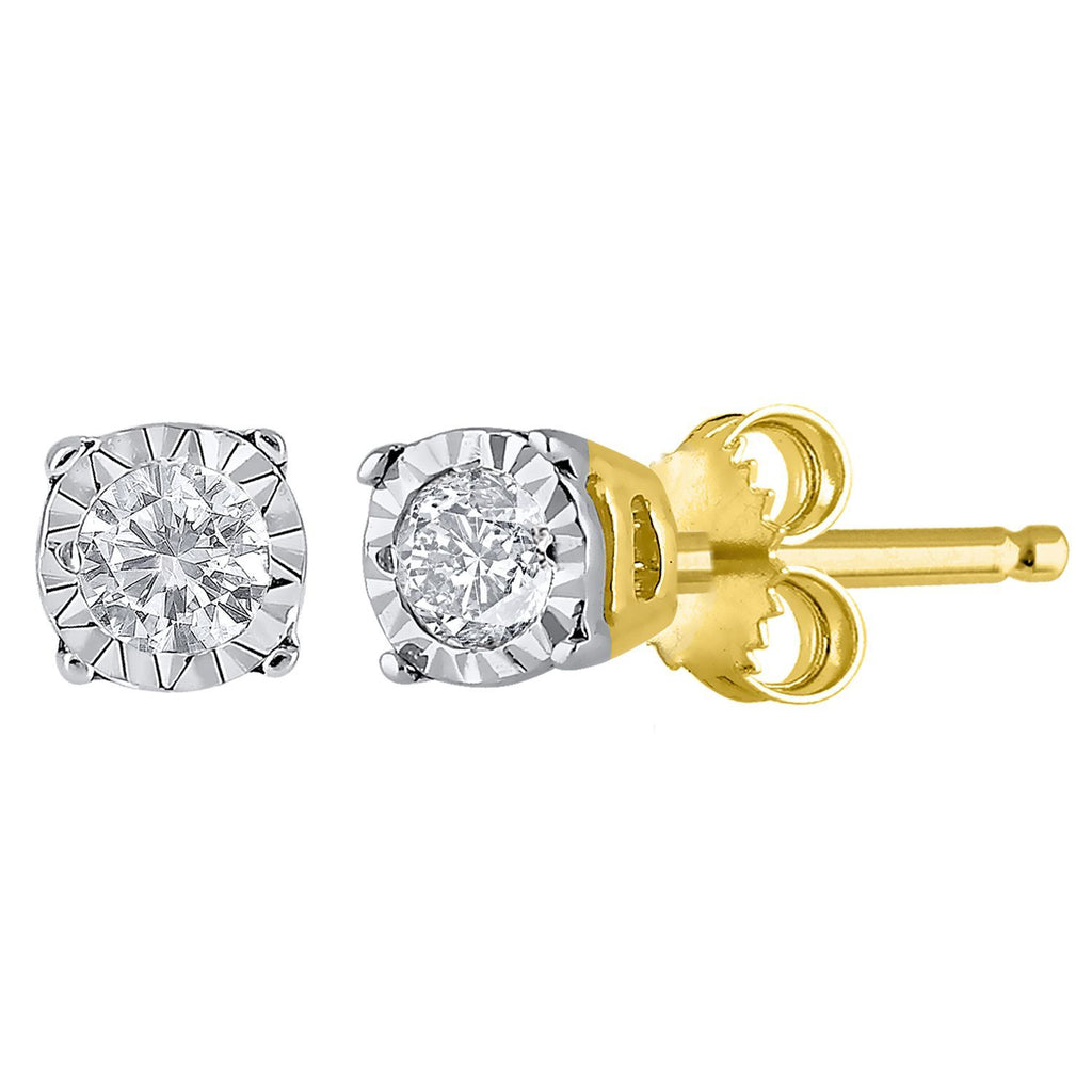 9ct Yellow Gold Diamond Set Miracle Stud Earrings
