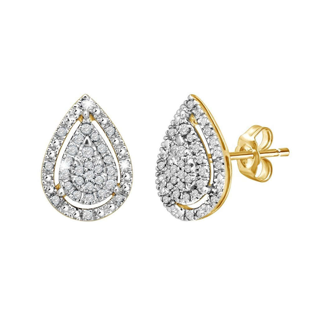 9ct Yellow Gold 0.10ct Diamond Pear Shape Stud Earrings Earrings Bevilles