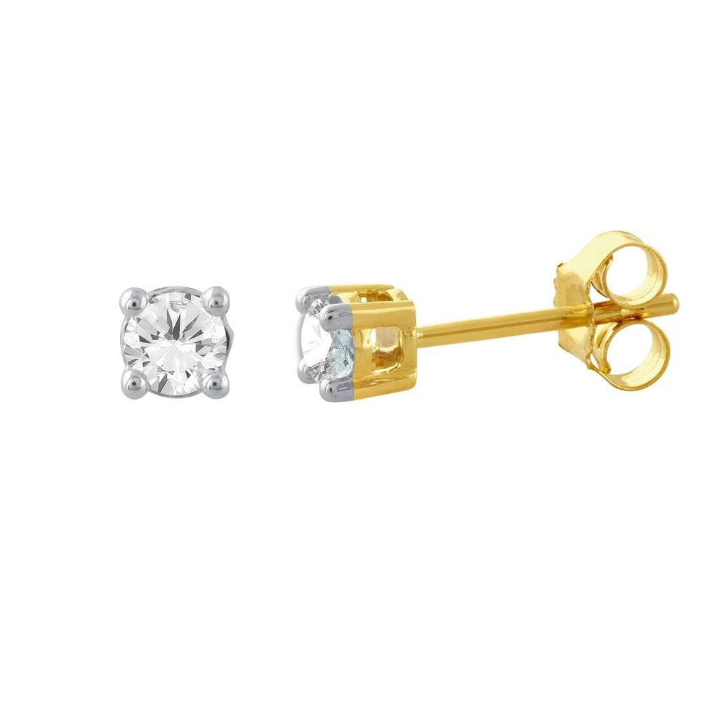 Stud Earrings with 1/5ct of Diamonds in 9ct Yellow Gold Earrings Bevilles
