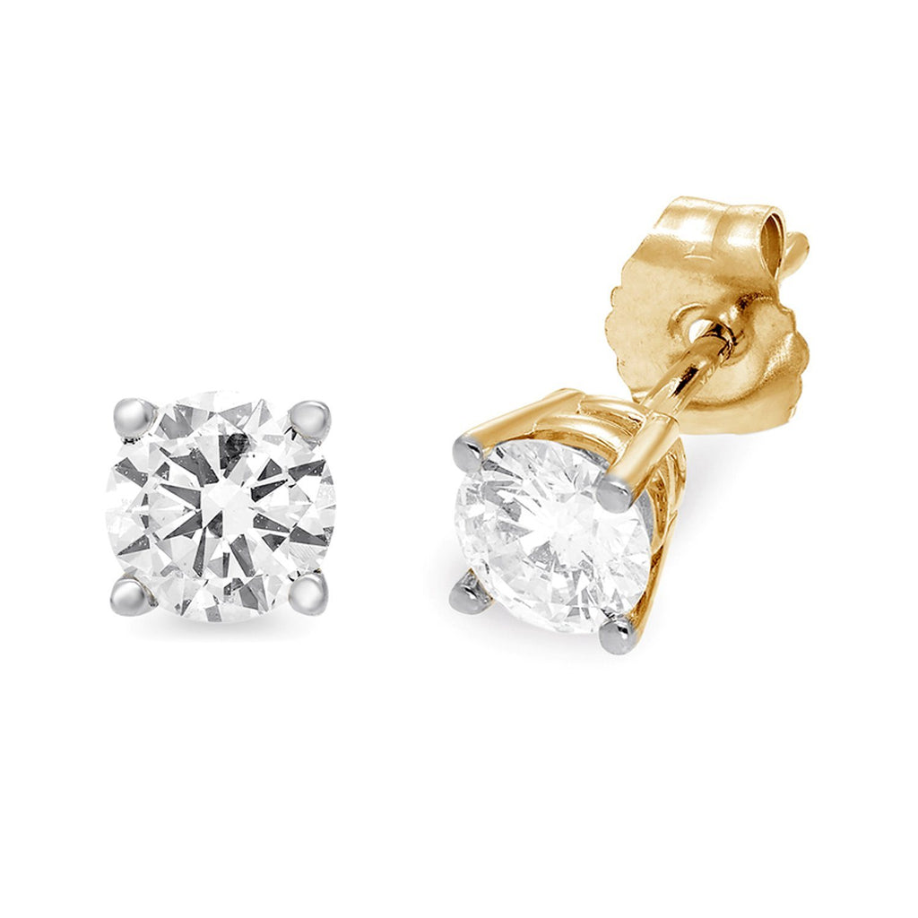 1/2ct Diamond Stud Earrings in 10ct Yellow Gold Earrings Bevilles