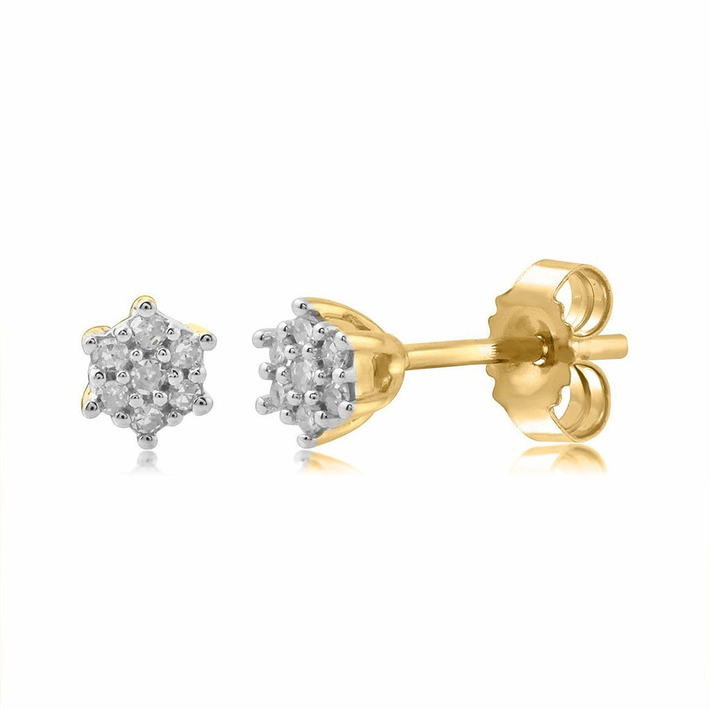 9ct Yellow Gold Diamond Star Stud Earrings