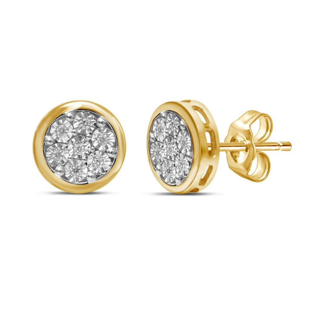 9ct Yellow Gold Illusion Diamond Set Earrings Earrings Bevilles