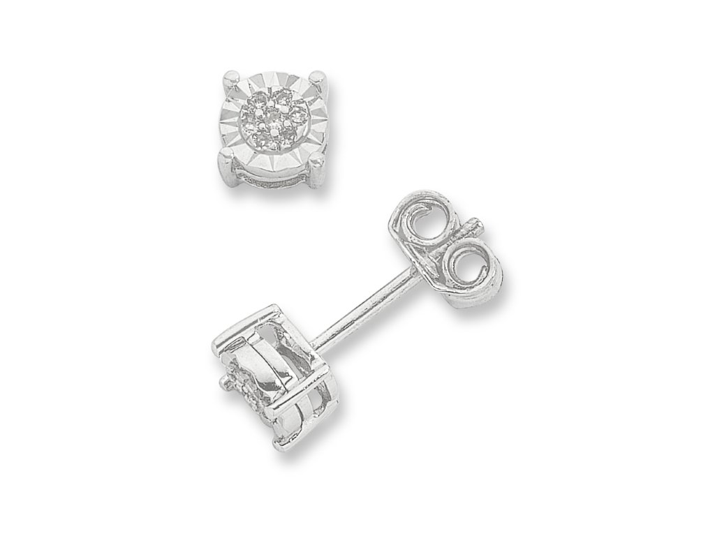 Diamond Stud Earrings in 9ct White Gold Earrings Bevilles