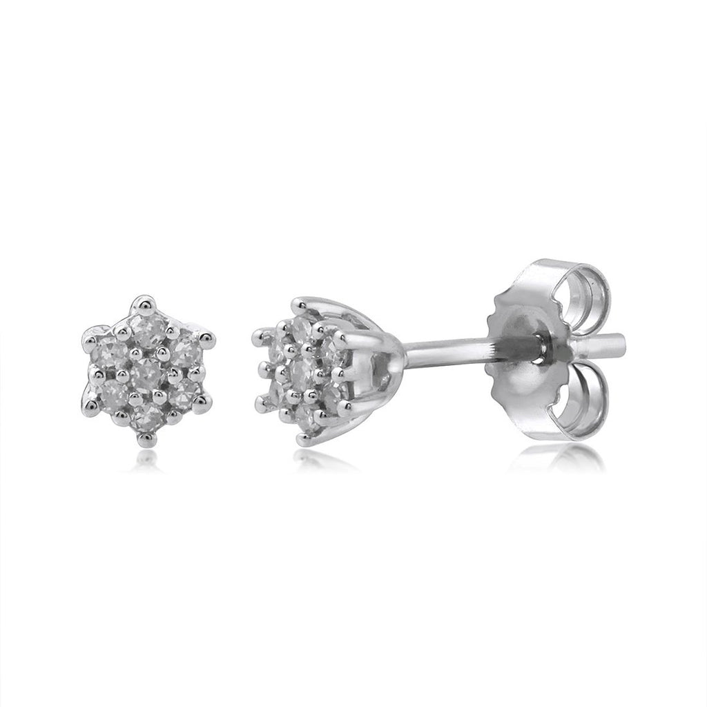 9ct White Gold Diamond Star Stud Earrings Earrings Bevilles