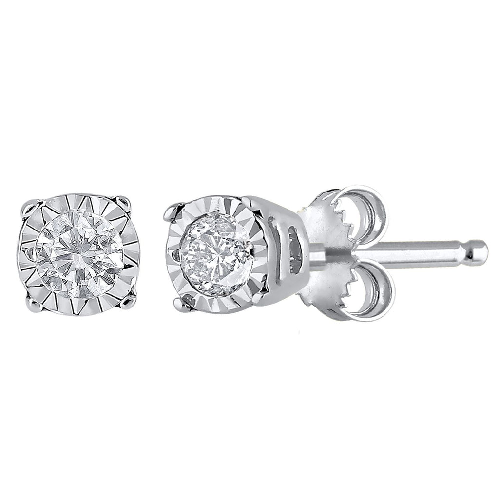 9ct White Gold Diamond Set Miracle Stud Earrings