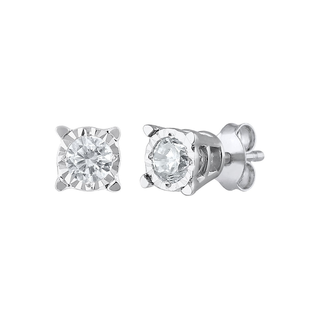 Diamond Solitaire Stud Earrings in 10ct White Gold