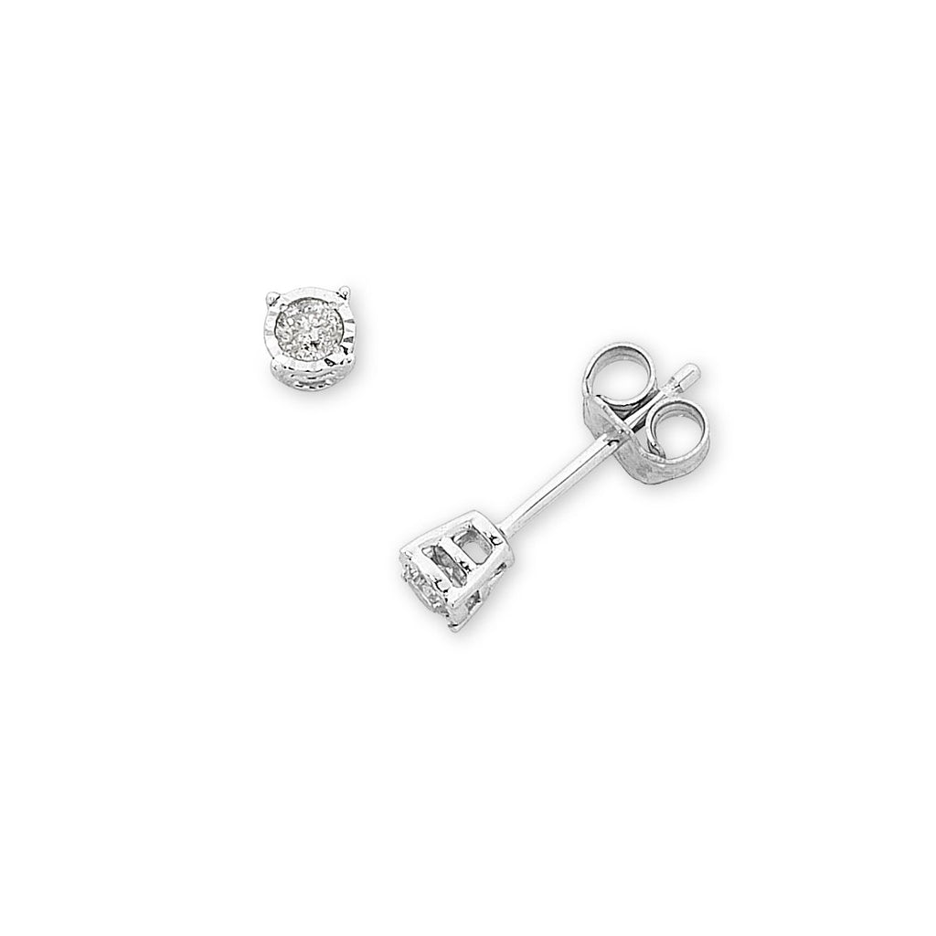 9ct White Gold 0.10ct Diamond Stud Earrings Earrings Bevilles