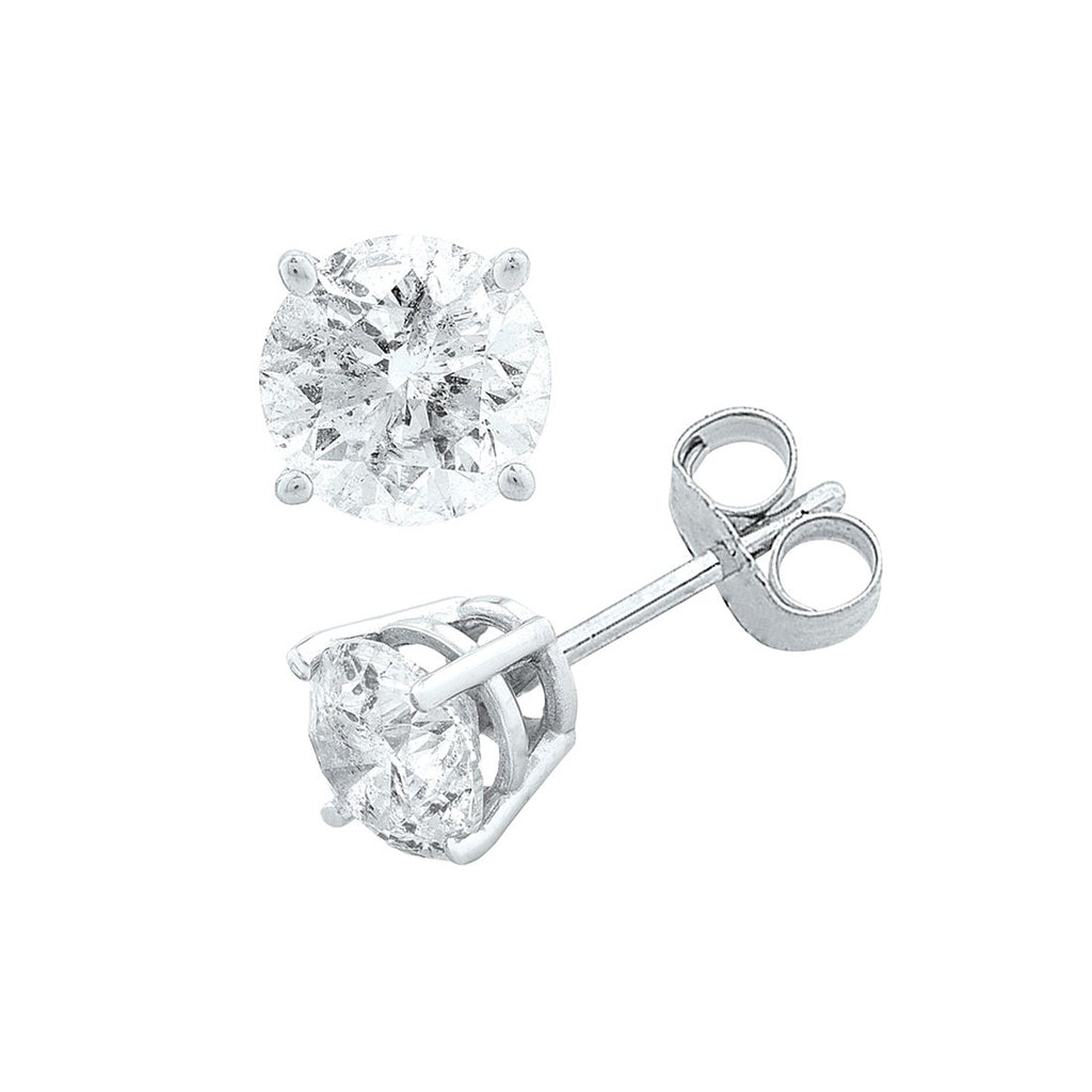 Stud Earrings with 1/5ct of Diamonds in 9ct White Gold