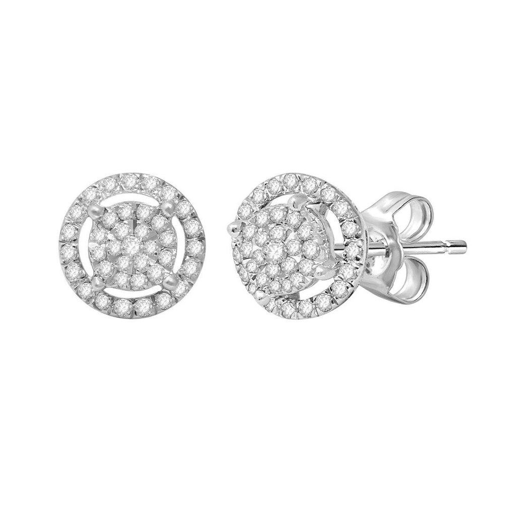 Martina Halo Earrings with 1/3ct of Diamonds in 9ct White Gold