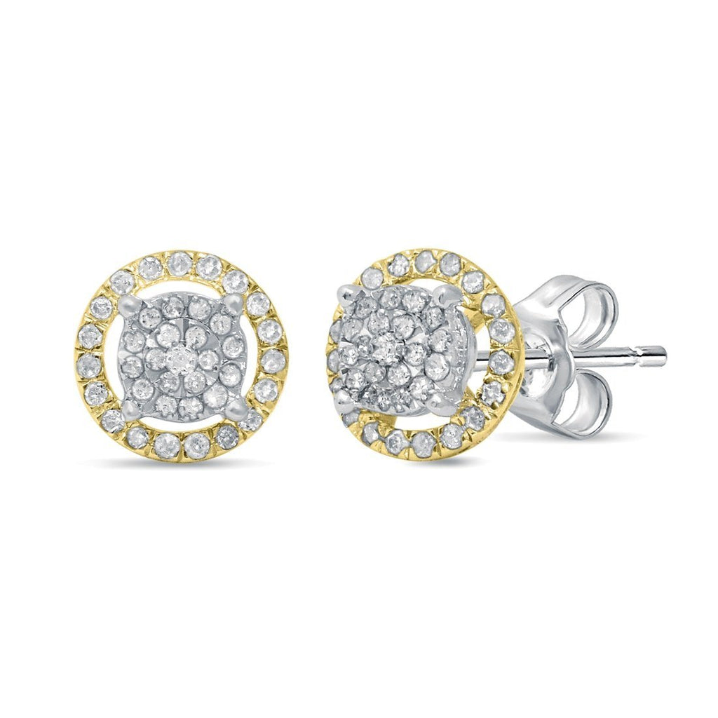 Martina Solitaire Look Halo Earrings with 1/3ct of Diamonds in 9ct White & Yellow Gold