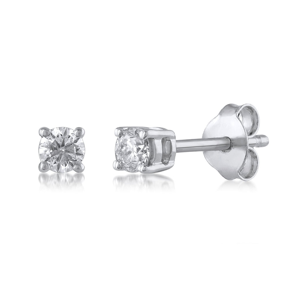 Stud Earrings with 1/3ct of Diamonds in 9ct White Gold Earrings Bevilles