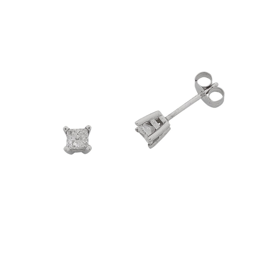14ct White Gold 0.33ct Diamond Princess Cut Stud Earrings