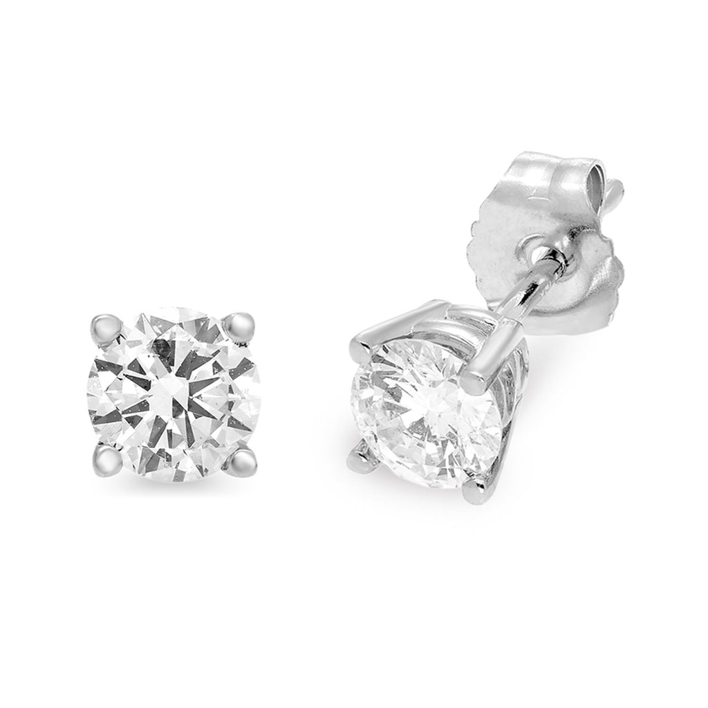 Solitaire 1/2ct Diamond Earrings in 14ct White Gold Earrings Bevilles
