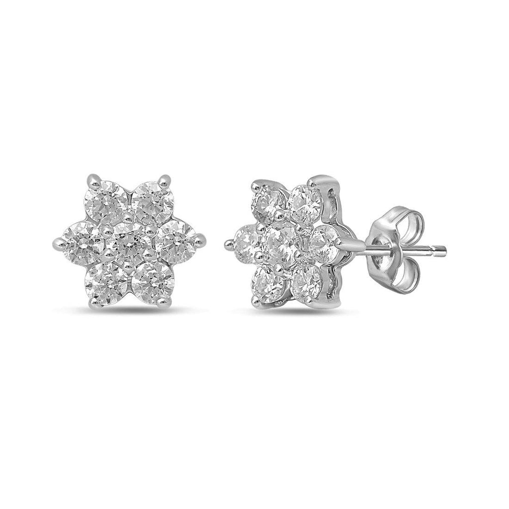 Star Stud Earrings with 1/2ct of Diamonds in 9ct White Gold Earrings Bevilles