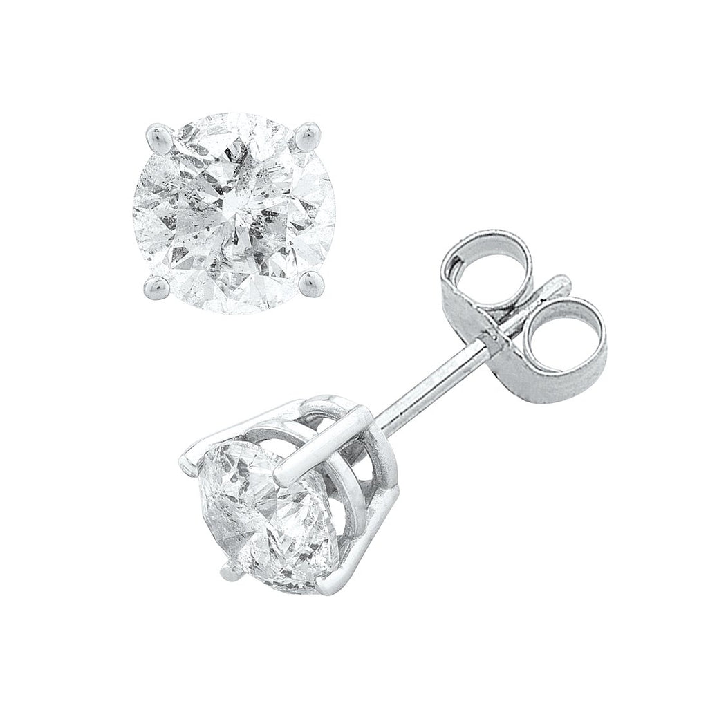 14ct White Gold 1.00ct Diamond Claw Stud Earrings
