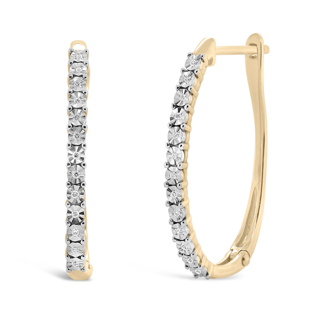 Diamond Set Brilliant Illusion Hoop Earrings in 10ct Yellow Gold Earrings Bevilles