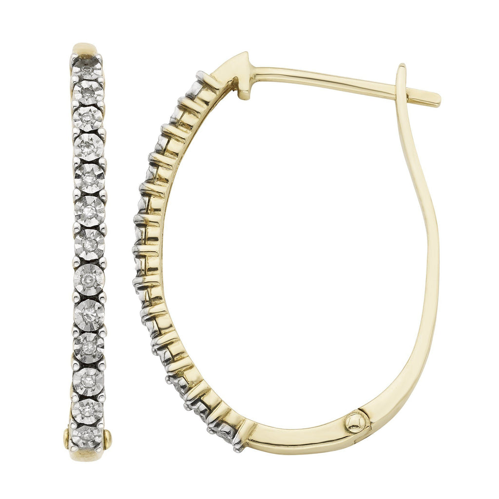 Diamond Set Brilliant Illusion Hoop Earrings in 10ct Yellow Gold