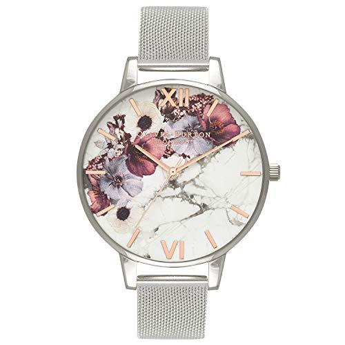 Olivia Burton Women's Watch Marble Florals Collection - Silver Case - Silver Mesh Strap - Silver Watches Olivia Burton