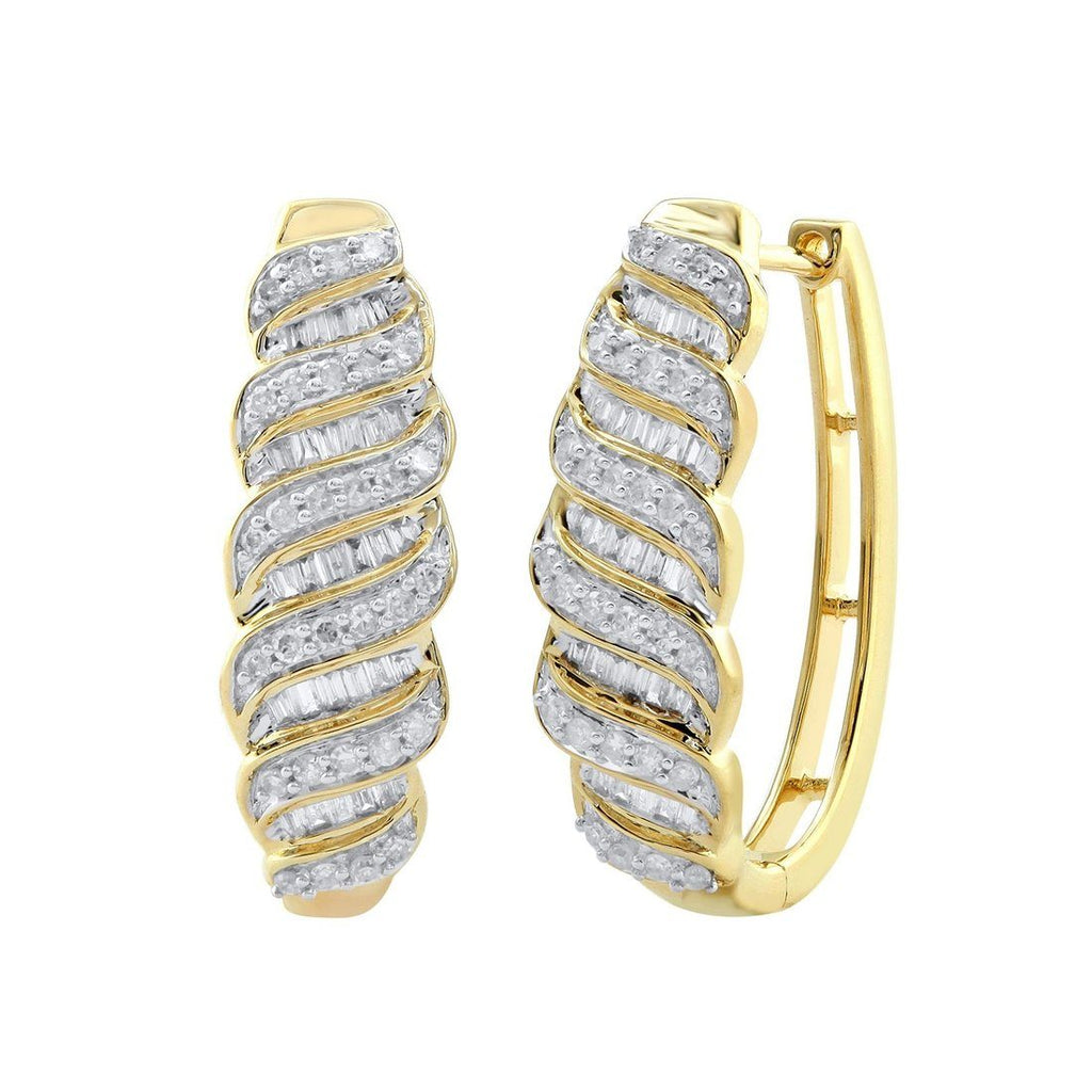 9ct Yellow Gold 0.50ct Diamond Oval Hoop Earrings Earrings Bevilles