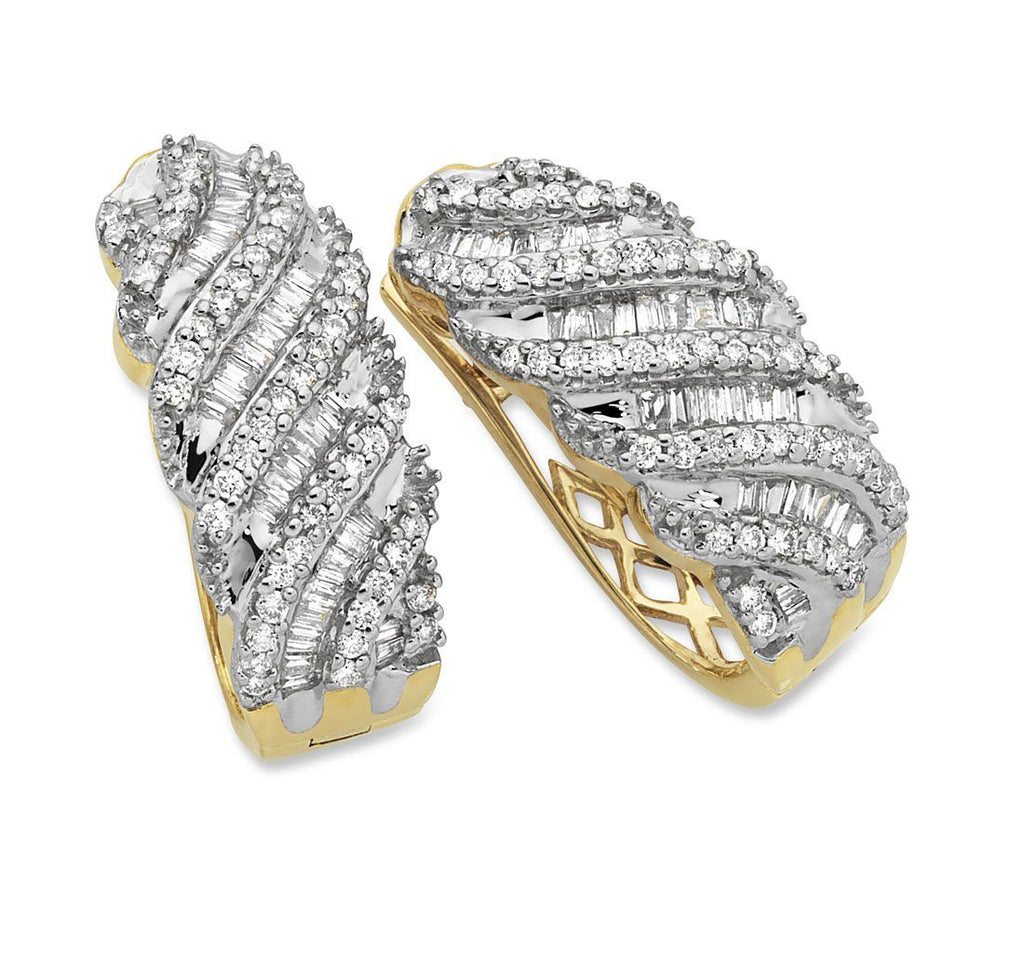 Swirl Hoop Earrings with 1.00ct of Diamonds in 9ct Yellow Gold