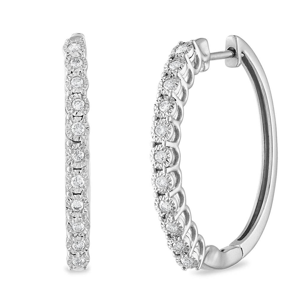 Miracle Hoop Earrings with 1/4ct of Diamonds 10ct White Gold Earrings Bevilles