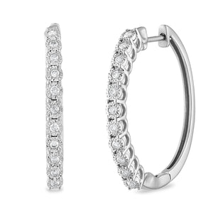 Miracle Hoop Earrings with 1/4ct of Diamonds 10ct White Gold