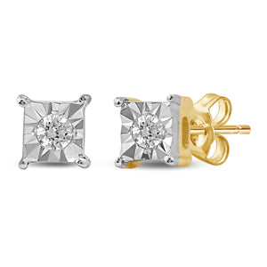 Diamond Square Look Earrings in 10ct Yellow Gold