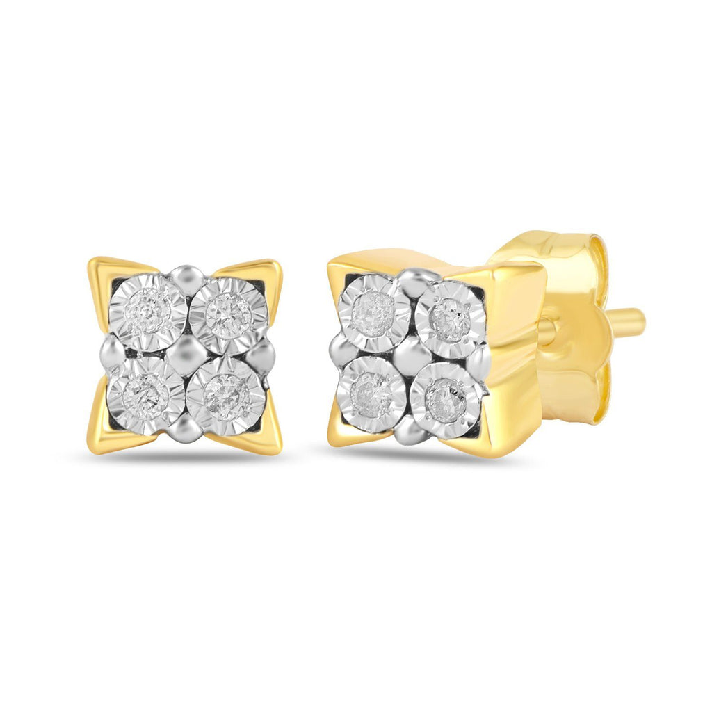 Diamond Miracle Square Look Earrings in 9ct Yellow Gold Earrings Bevilles