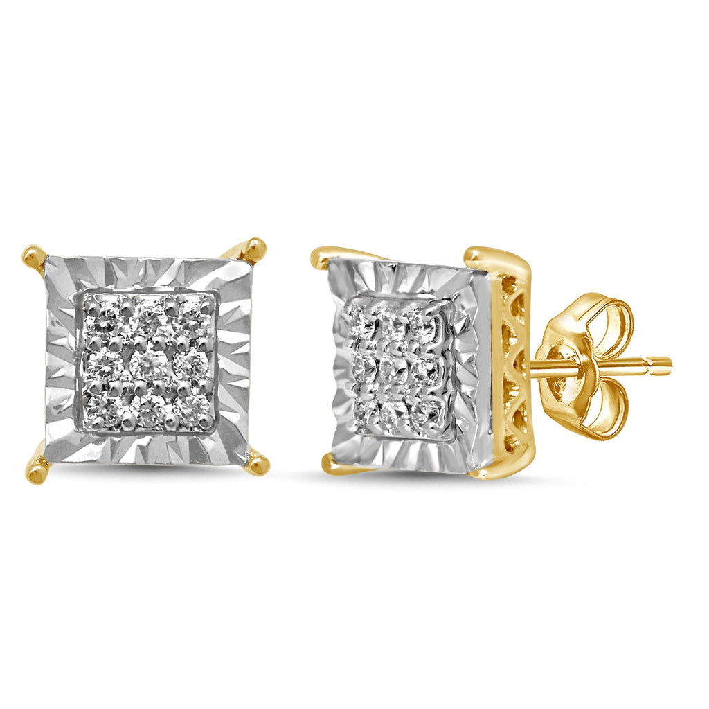 Brilliant Claw Square Look Stud Earrings with 0.10ct of Diamonds in 9ct Yellow Gold Earrings Bevilles