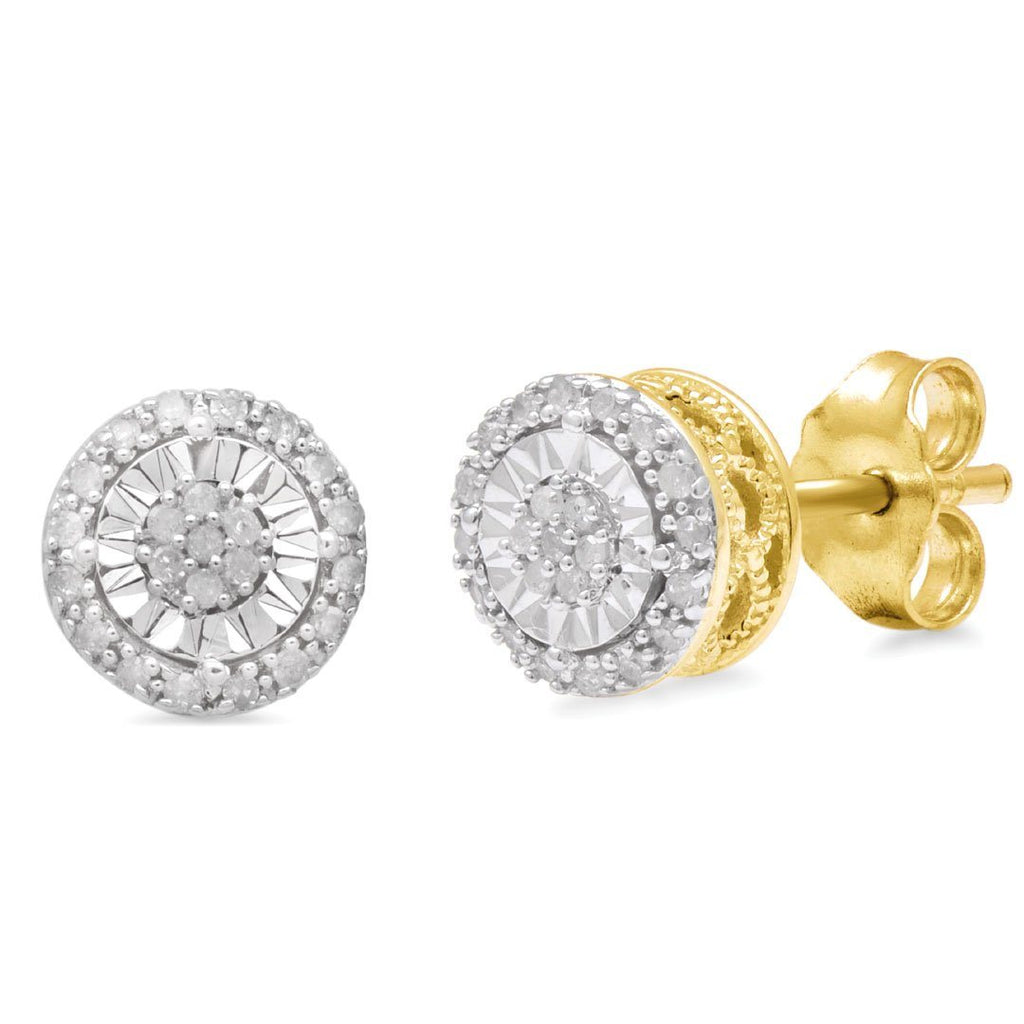 Brilliant Halo Round Stud Earrings with 0.10ct of Diamonds in 9ct Yellow Gold Earrings Bevilles