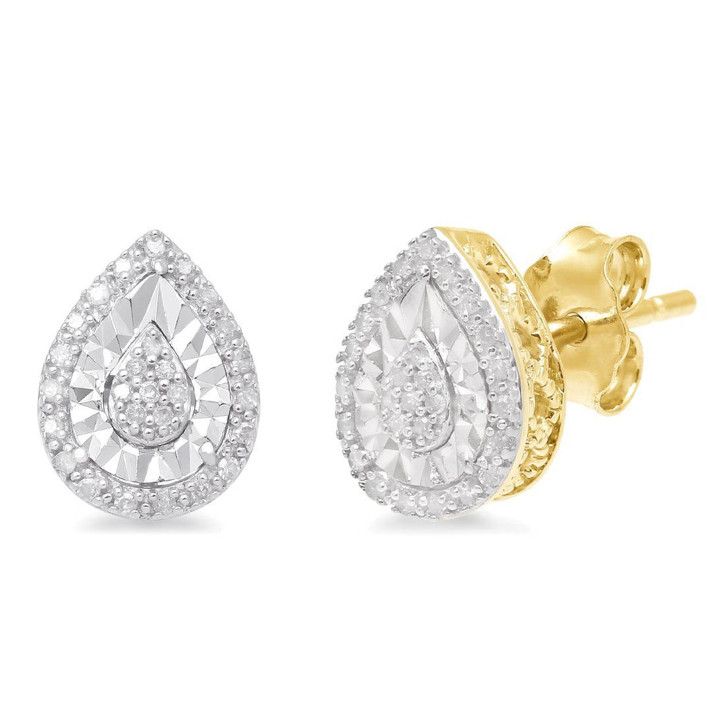 Brilliant Halo Pear Stud Earrings with 0.10ct of Diamonds in 9ct Yellow Gold Earrings Bevilles