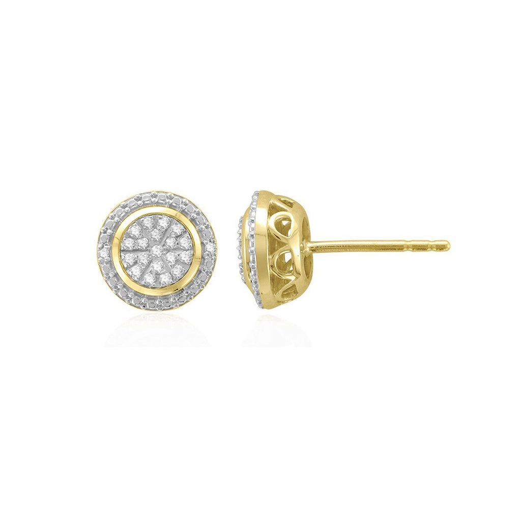 9ct Yellow Gold 0.14ct Diamond Halo Stud Earrings Earrings Bevilles
