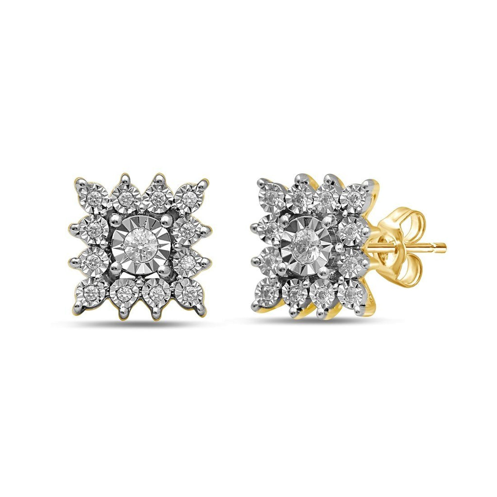 9ct Yellow Gold 0.20ct Diamond Square Star Stud Earrings Earrings Bevilles