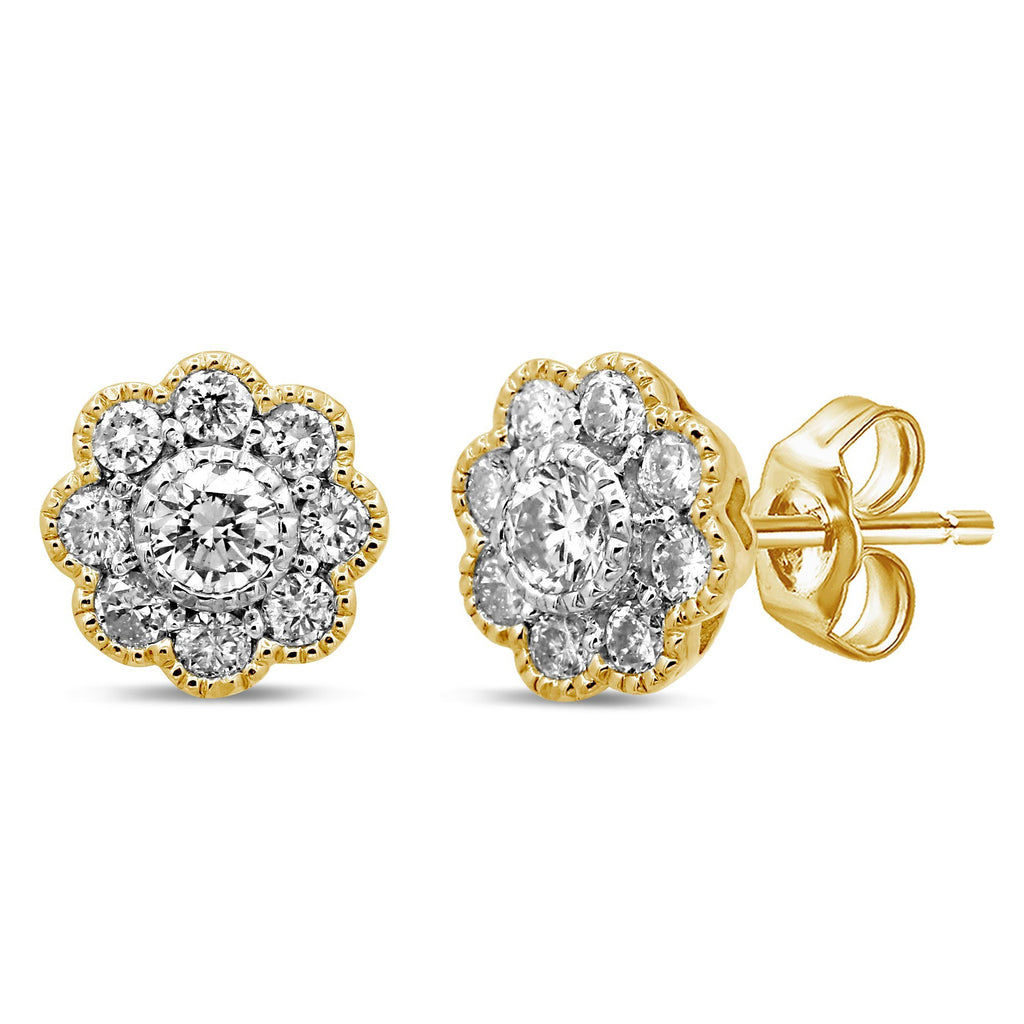 Brilliant Claw Flower Stud Earrings with 0.60ct of Diamonds in 9ct Yellow Gold Earrings Bevilles